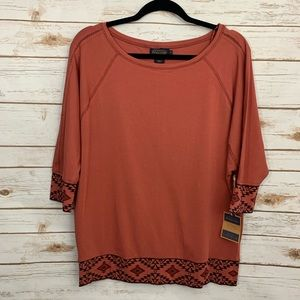 NWT Pendleton Aztec Detail Rust Batwing Sleeve Top